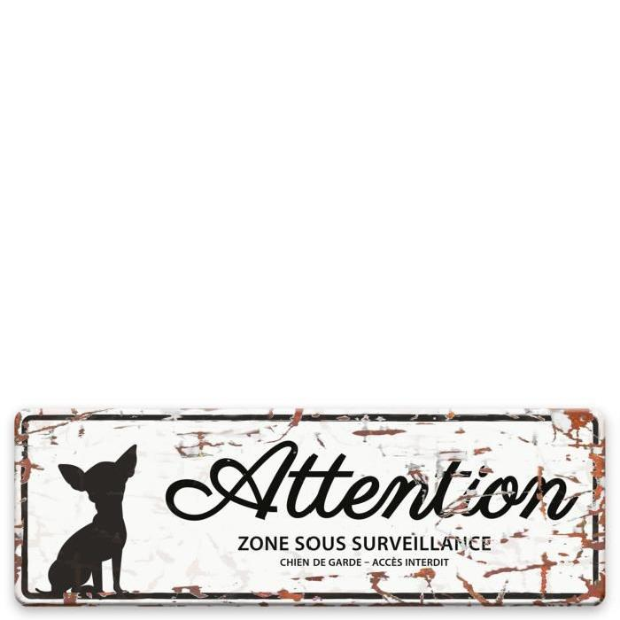 D&D Plaque Attention Chien Mini Chihuahua - Blanc