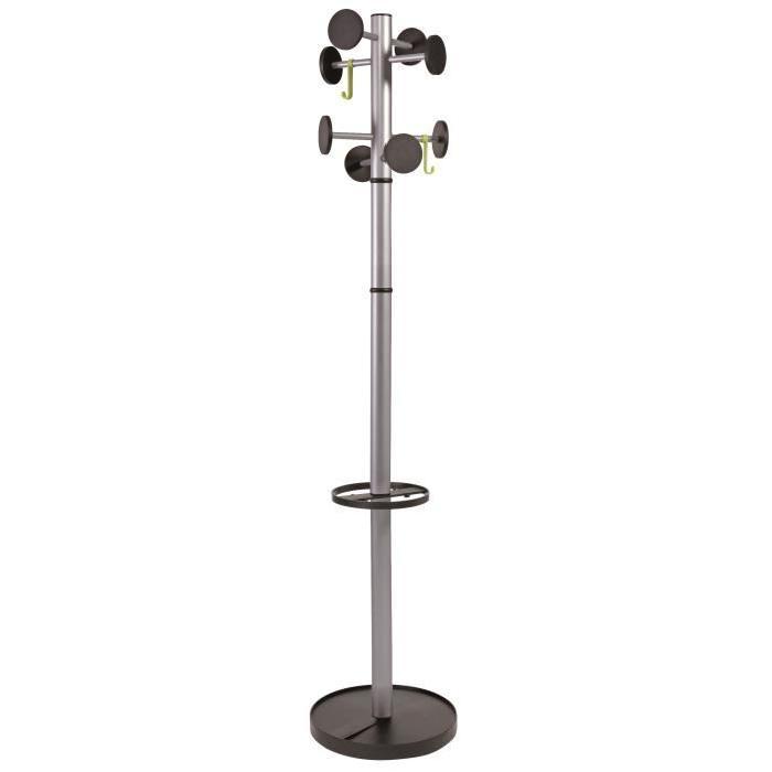 ALBA Portemanteau acier 8 Pateres - Gris métall - Ř 35,5 x H 175 cm Ř tube : 48 mm