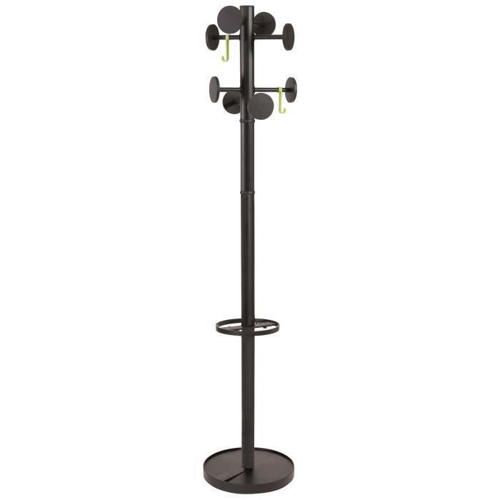 ALBA Portemanteau acier 8 Pateres - Noir - Ř 35,5 x H 175 cm Ř tube : 48 mm