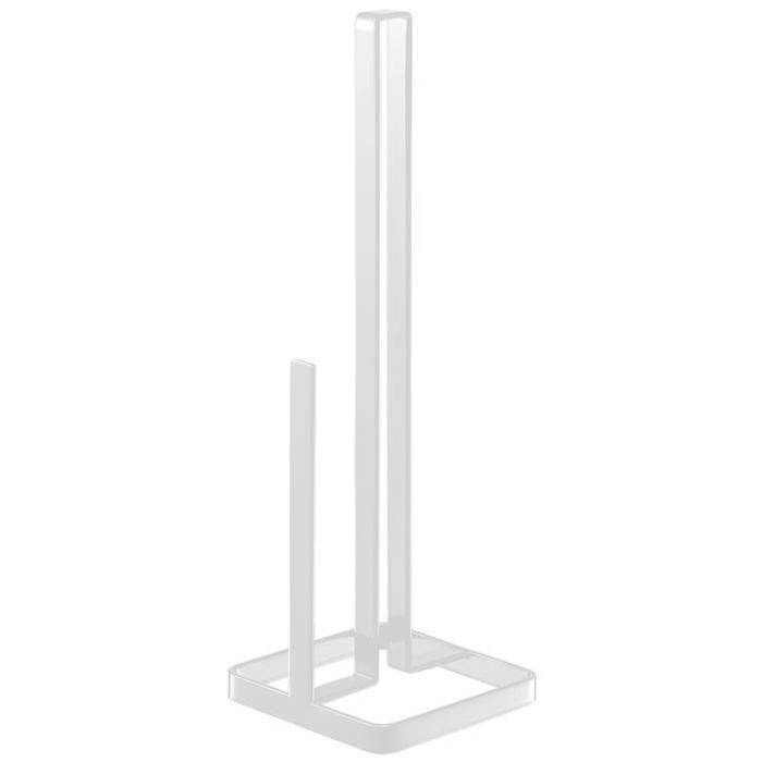 GERSON Porte rouleau papier - 11x11x38,5 cm - Métal blanc