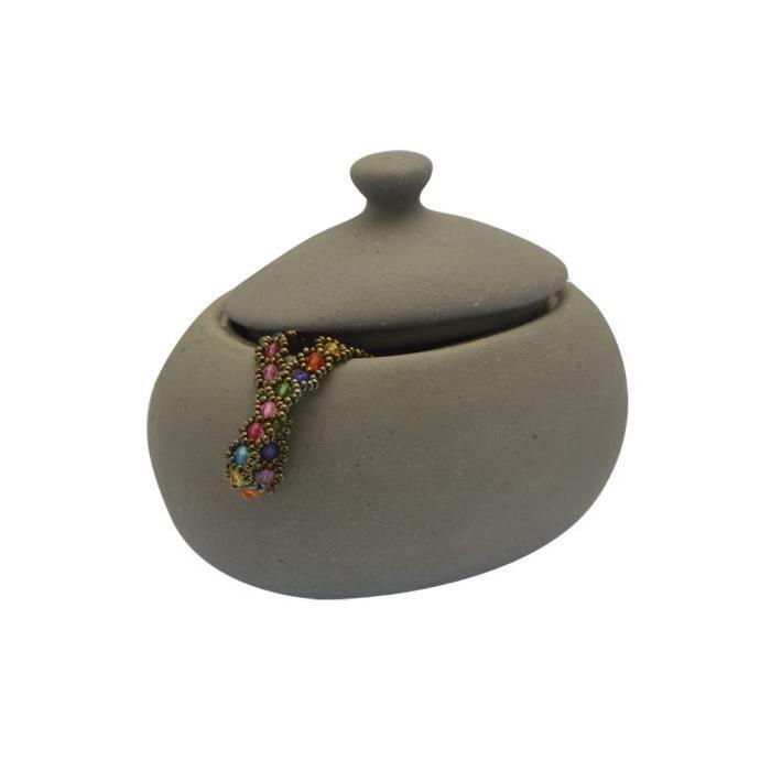 FRANDIS Pot a coton en céramique gris cailloux