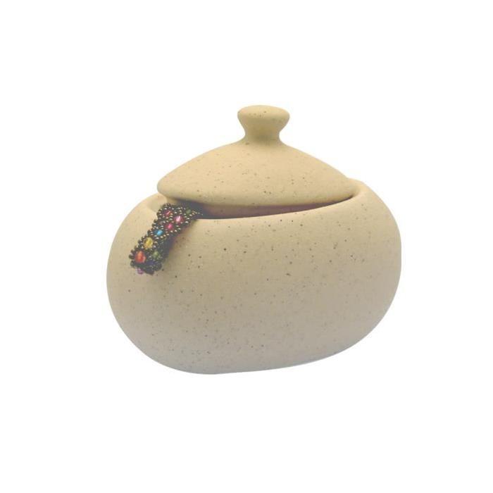 FRANDIS Pot a coton en céramique beige cailloux
