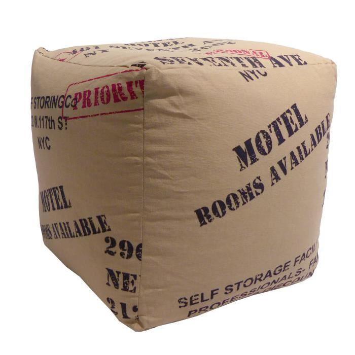 KRAFT Pouf cube en polyester et coton 37x37x37 cm beige