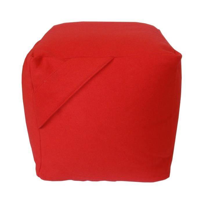 SOFT Pouf en laine mélangée 40x40x40 cm rouge