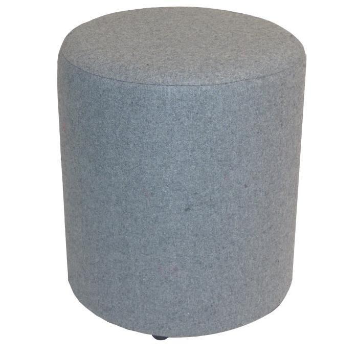 SIMPLY Pouf en toile effet feutrine de laine Ř30x32 cm gris