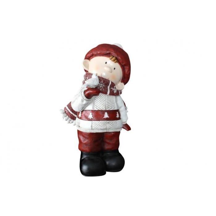 Personnage de Noël : Petit garçon en résine 28x22x44 cm
