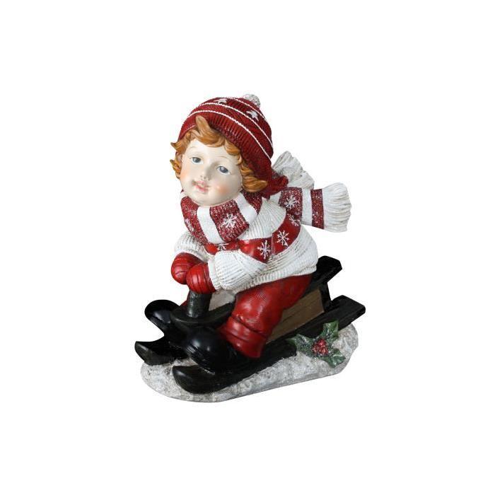 Personnage de Noël : Petit garçon en résine 25x16x30 cm
