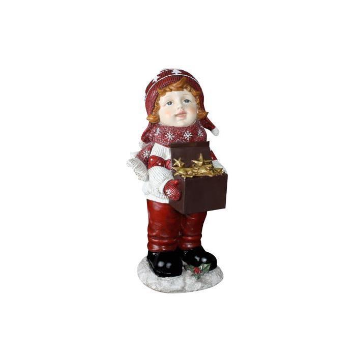 Personnage de Noël : Petit garçon en résine 22x19x41 cm