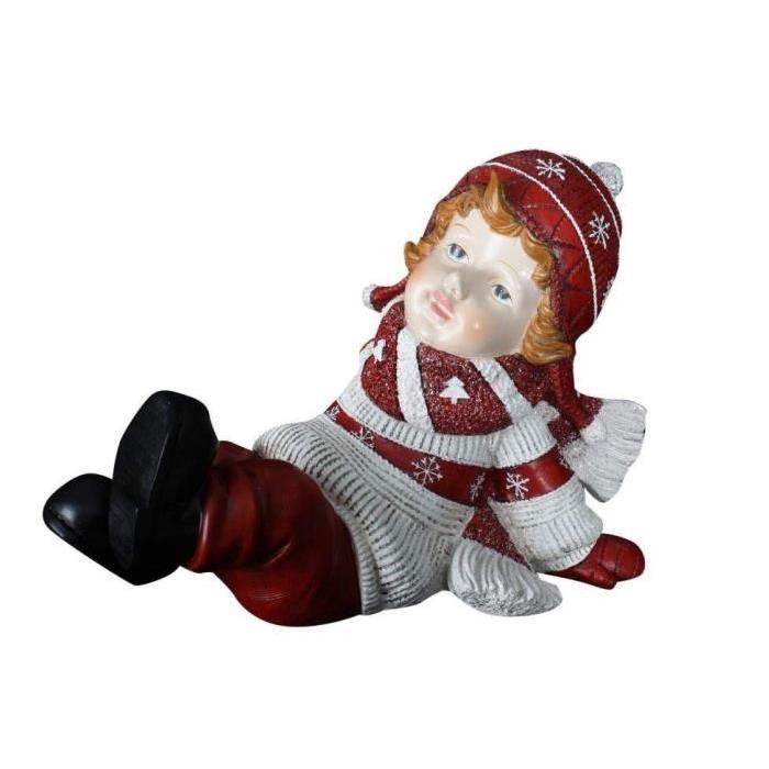 Personnage de Noël : Petit garçon en résine 32x18x21 cm