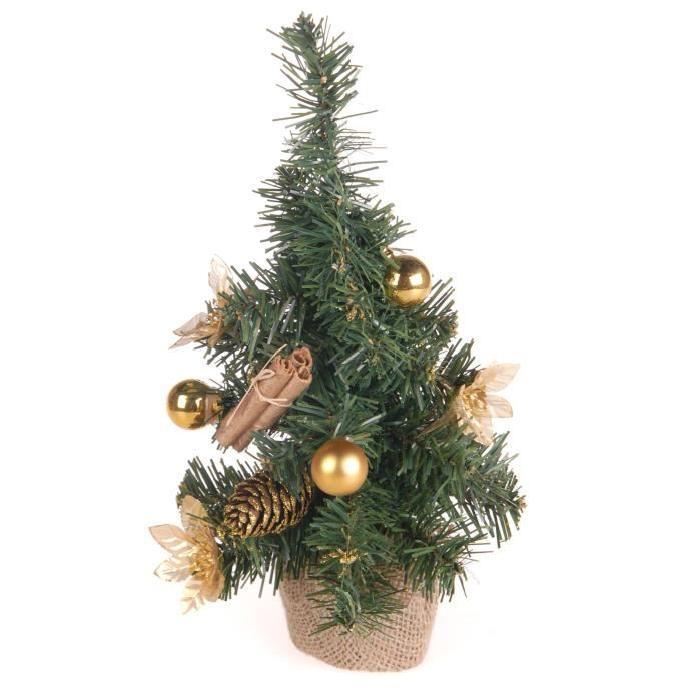 Sapin de Noël Artificiel décoré Doré 30 cm
