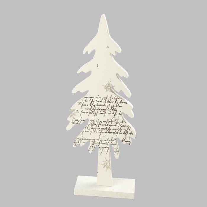 Sapin de Noël en Bois beige decoré en Or 24,5cm