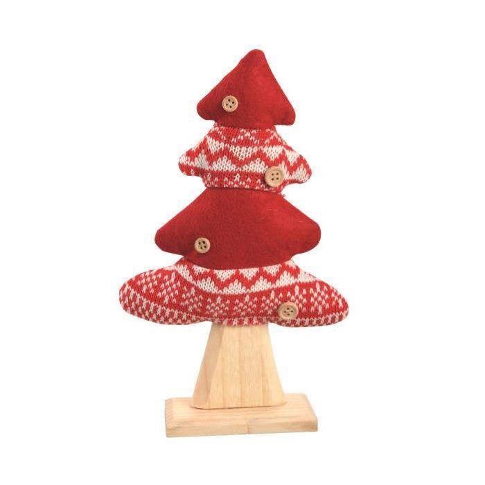 Sapin de Noël en Bois et tissu Rouge/Blanc 22 cm