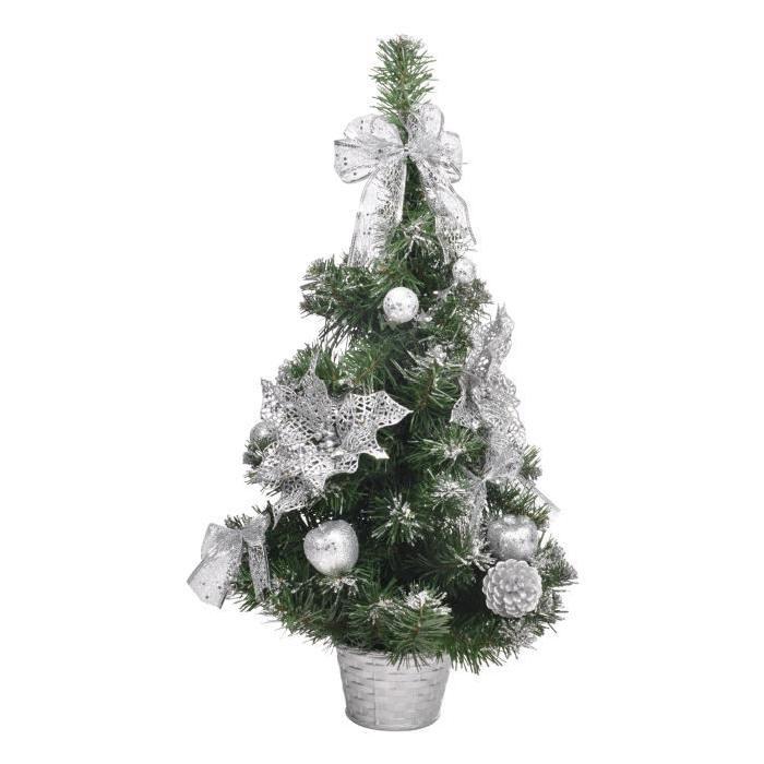 Sapin de Noël Artificiel en Plastique Argenté 60cm