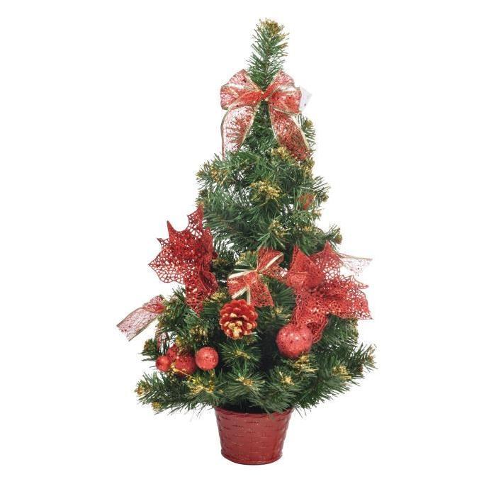 Sapin de Noël Artificiel en Plastique Rouge 60 cm