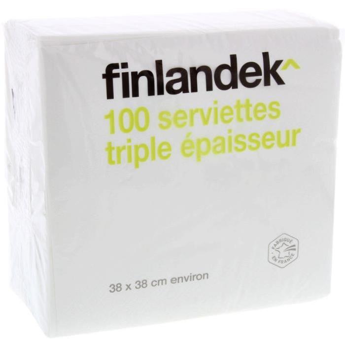 FINLANDEK 100 Serviettes Blanches - 38 x 38cm - 3plis