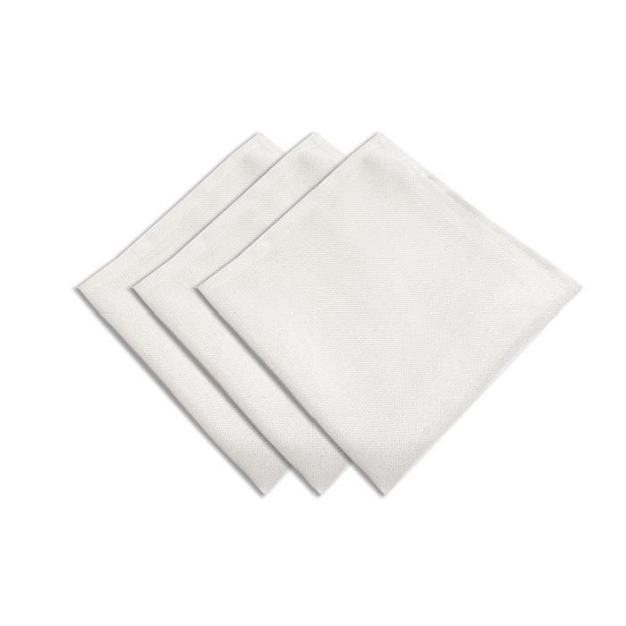SUCRE D'OCRE Lot de 3 serviettes BELLA - 45x45cm - Polyester Blanc