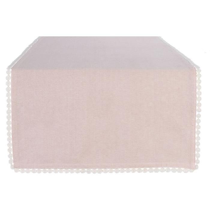 DEKOANDCO Chemin de table 45x150 cm CHINNY BLUSH/LIN