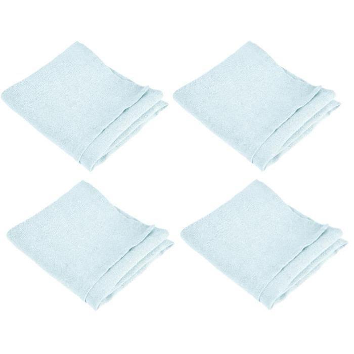 VENT DU SUD Lot de 4 serviettes de table SYMPHONIE 100% lin 50x50 cm aqua