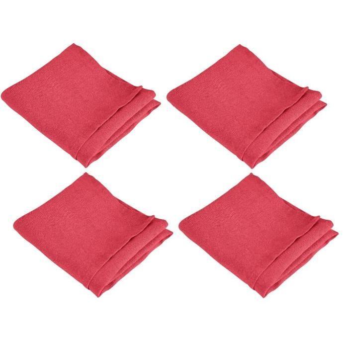 VENT DU SUD Lot de 4 serviettes de table SYMPHONIE 100% lin 50x50 cm cranberry