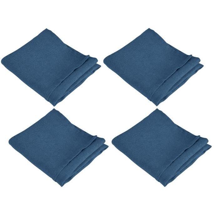 VENT DU SUD Lot de 4 serviettes de table SYMPHONIE 100% lin 50x50 cm indigo