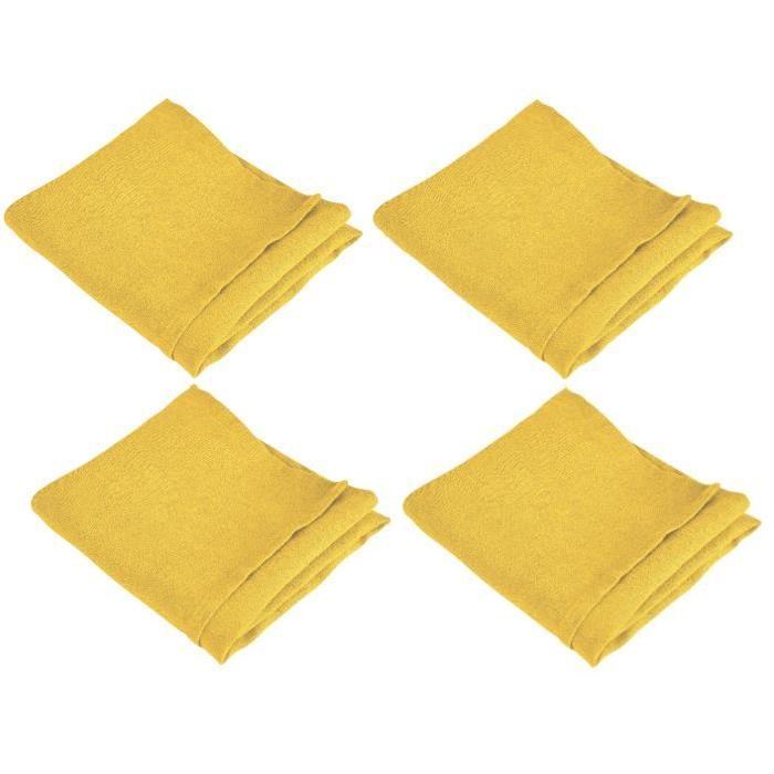 VENT DU SUD Lot de 4 serviettes de table SYMPHONIE 100% lin 50x50 cm safran