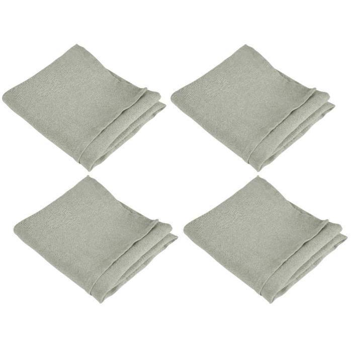 VENT DU SUD Lot de 4 serviettes de table SYMPHONIE 100% lin 50x50 cm taupe