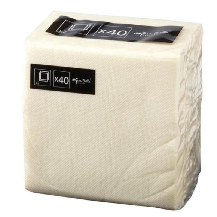 MESA BELLA Serviettes en papier - Ivoire - 25 x 25 - 40 pieces