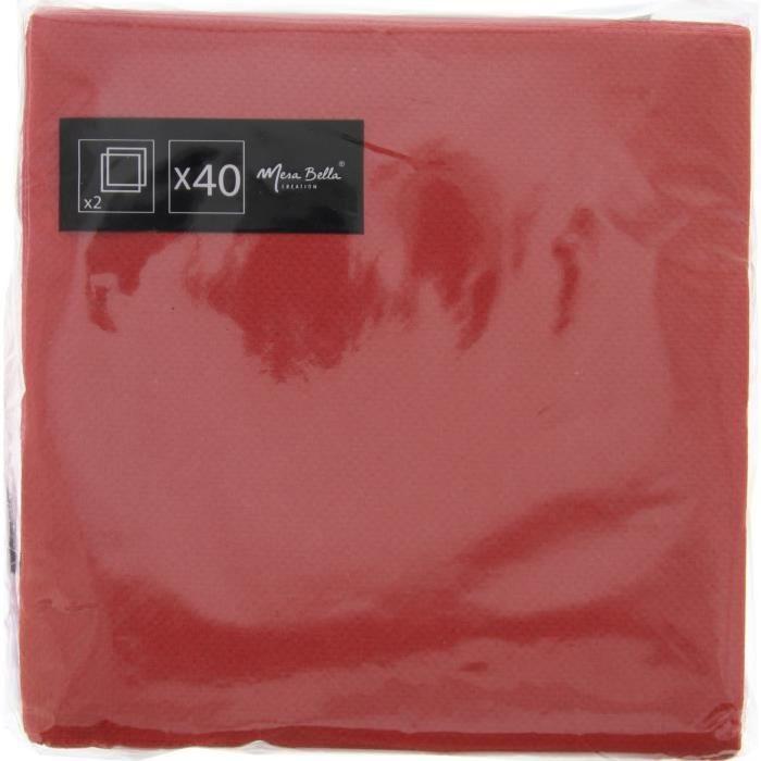 40 Serviettes Micro embossées - 25 x 25 cm - Rouge