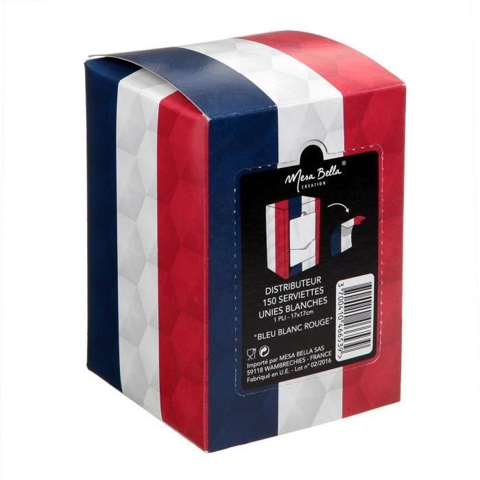 MESA BELLA Lot de 150 serviettes - Bleu, blanc et rouge