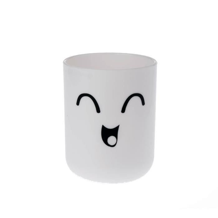 SMILING Gobelet salle de bain 9x7x7cm Blanc