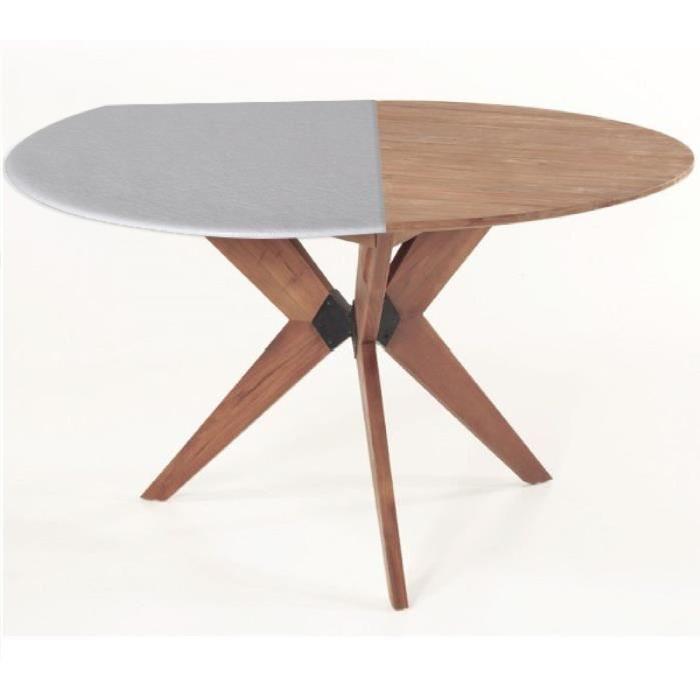 Protege-table ronde réversible 80 a 105 cm blanc