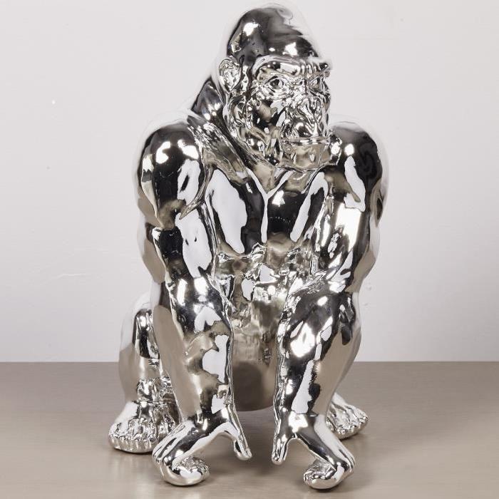 Statuette de gorille debout 29,5x26x41 cm chromé