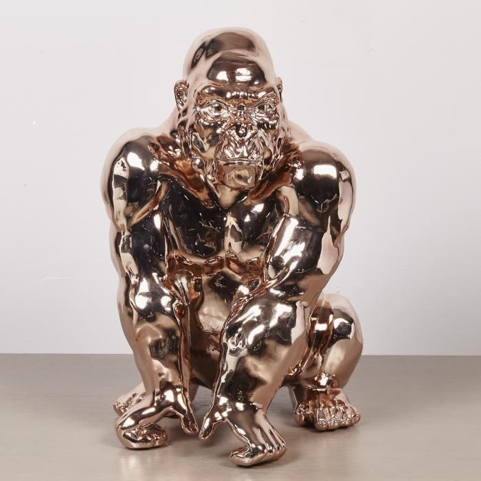 Statuette de gorille debout 29,5x26x41 cm cuivré