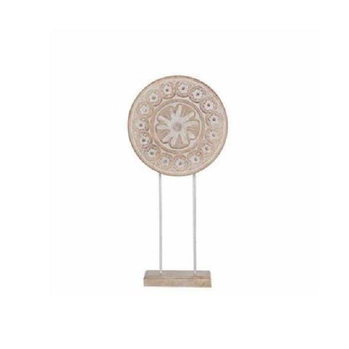 EDELMAN Sculpture cercle Bois De Manguier - Peinture a la chaux - L25 x l10 x H54 cm