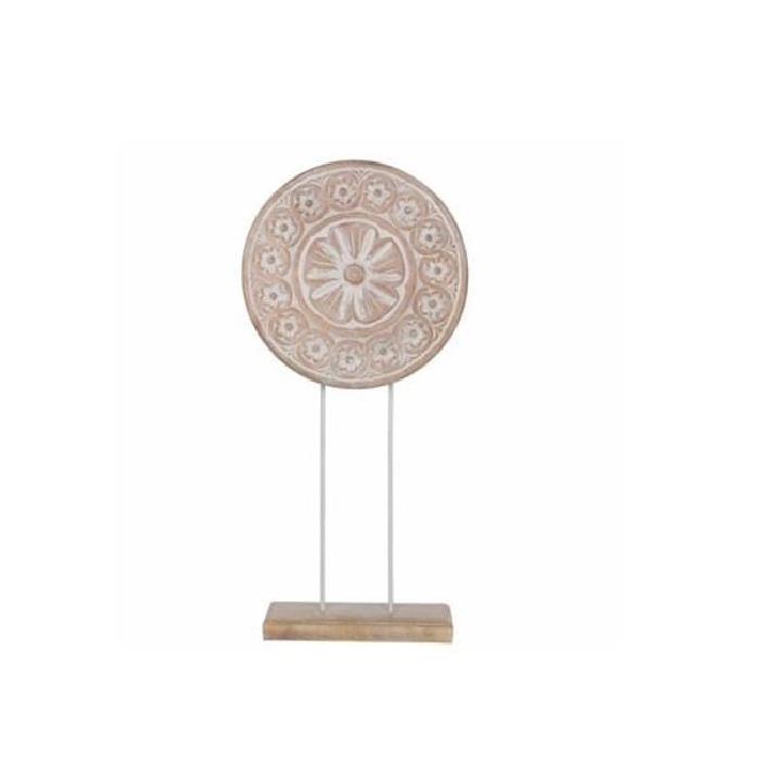 EDELMAN Sculpture cercle Bois De Manguier - Peinture a la chaux - L30 x l10 x H63 cm
