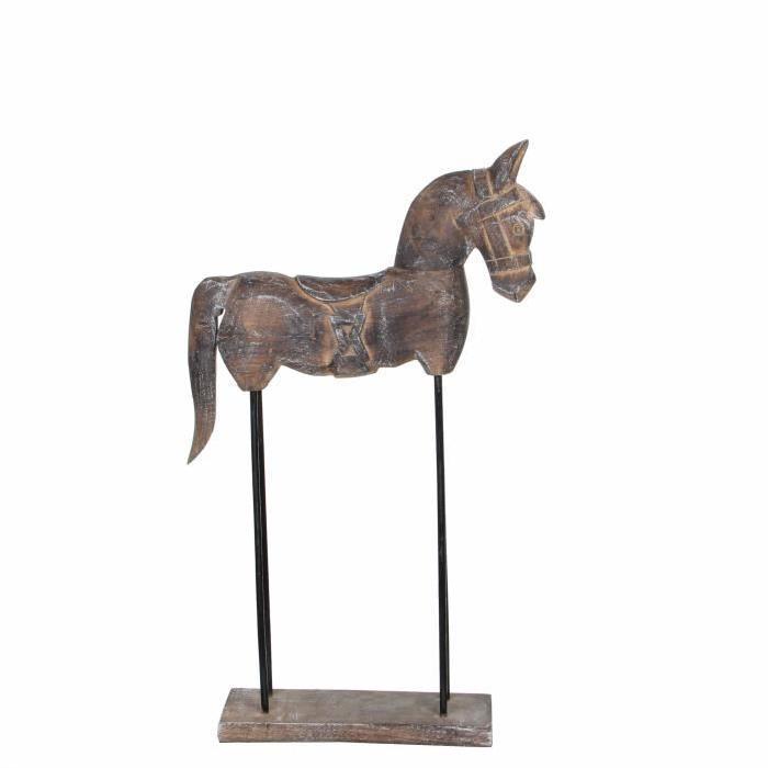 EDELMAN Sculpture cheval Bois De Manguier - Peinture a la chaux - L30 x l9 x H52 cm