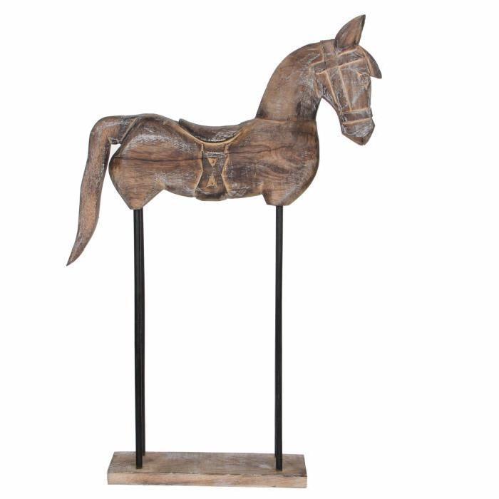 EDELMAN Sculpture cheval Bois De Manguier - Peinture a la chaux - L36 x l9 x H60 cm