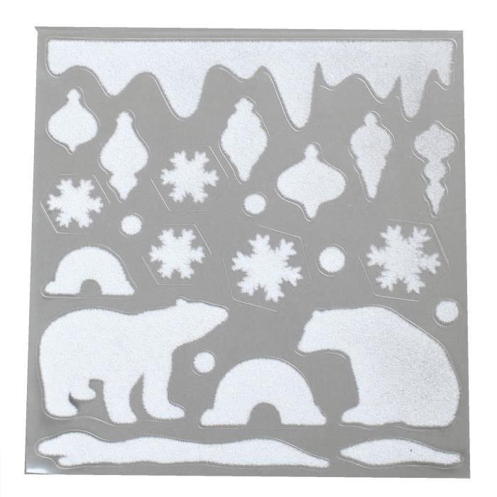 Sticker de Noël Ours en PVC et velours 30x32 cm
