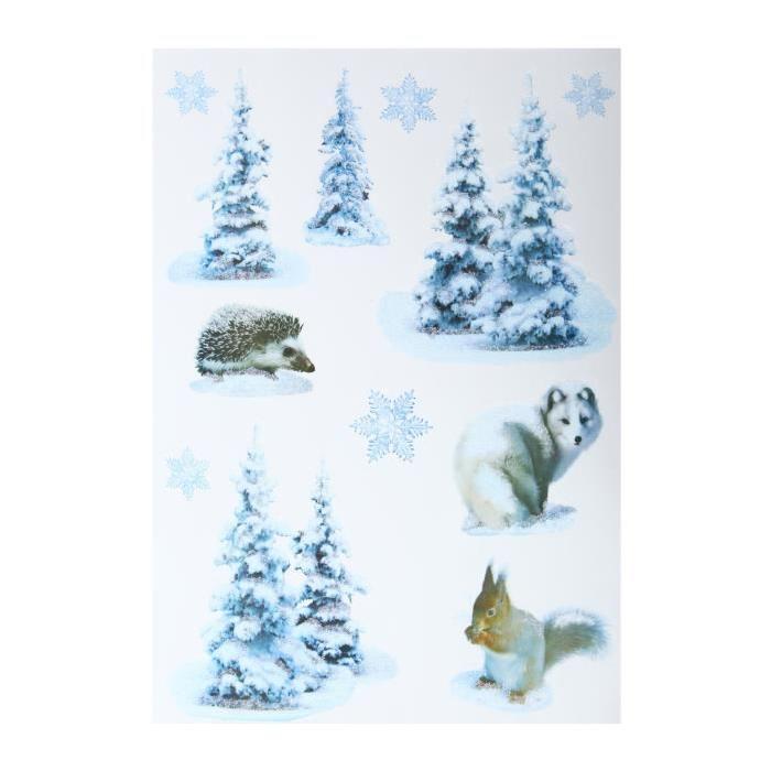 Sticker Sapin avec animaux Blanc 29,5x40 cm