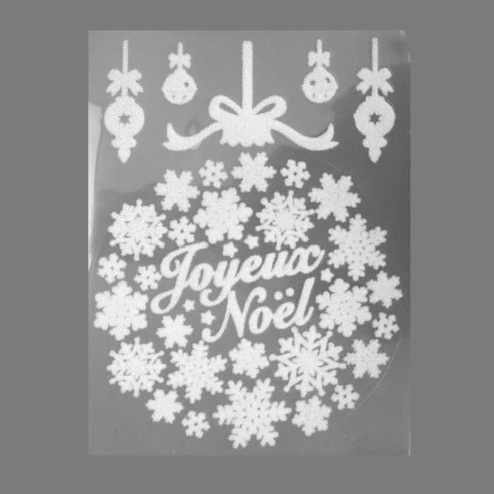 Sticker de Noël Floqué boule en PVC Blanc 29,5 cm