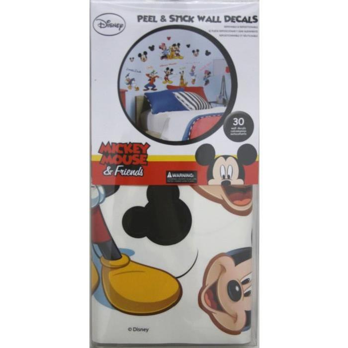 ROOMMATES Lot de 30 stickers DISNEY MICKEY ET SES AMIS repositionnables 4 feuilles de 10,1cm x 44,1cm