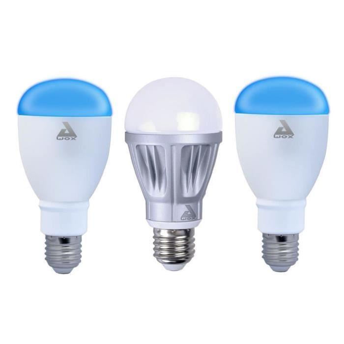 AWOX Lot de 3 ampoules LED avec une ampoule blanche dimmable E27 et 2 ampoules couleur E27 SmartLIGHT - Connecté