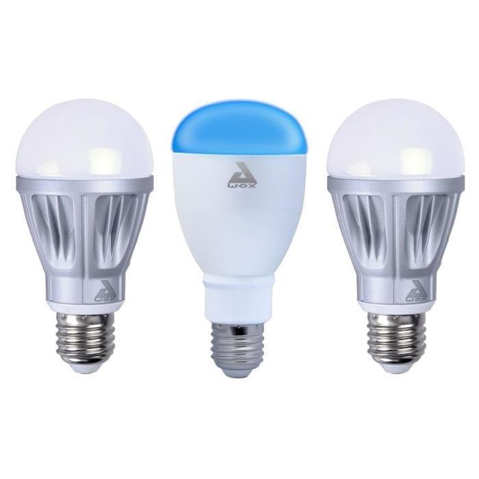 AWOX Lot de 2 Ampoules blanches dimmables E27 + 1 ampoule couleur E27 LED SmartLIGHT