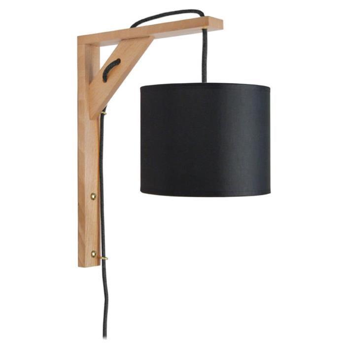 ÉQUERRE   Applique bois, rectangulaire, 30 cm, cordon avec interrupteur, et abat-jours, noir