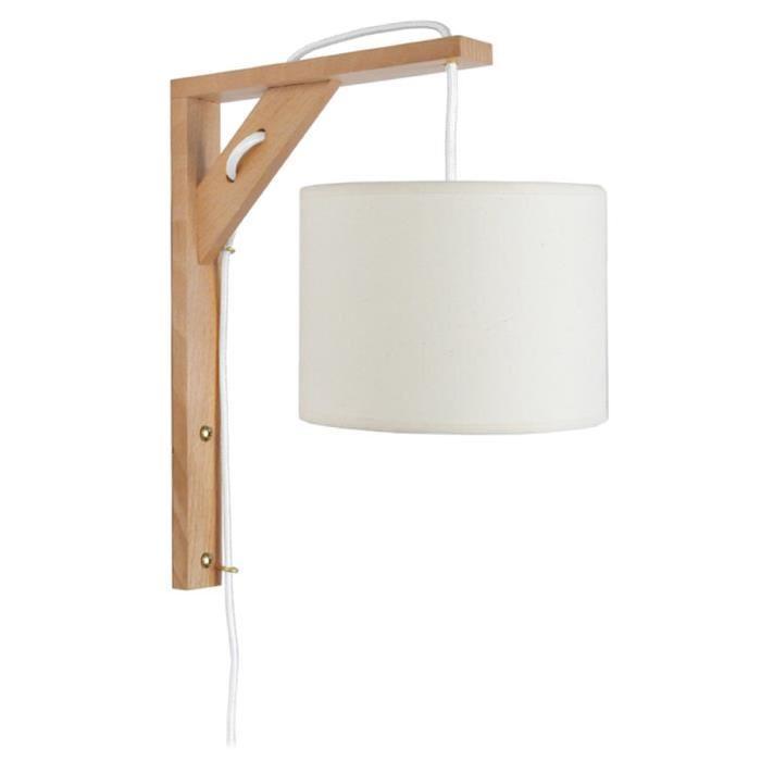 ÉQUERRE   Applique bois, rectangulaire, 30 cm, cordon avec interrupteur, et abat-jours, blanc
