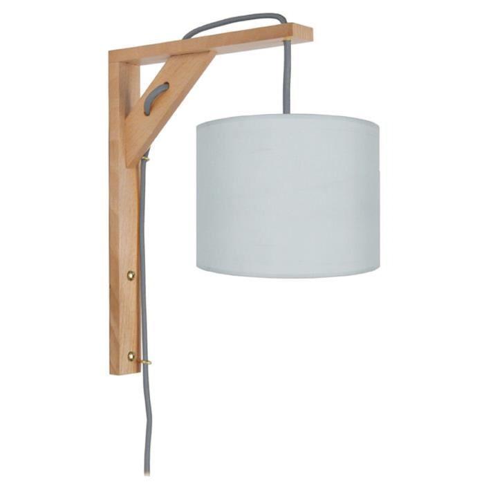 ÉQUERRE   Applique bois, rectangulaire, 30 cm, cordon avec interrupteur, et abat-jours, gris