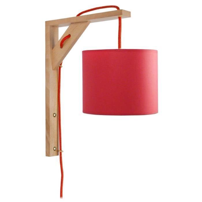 ÉQUERRE   Applique bois, rectangulaire, 30 cm, cordon avec interrupteur, et abat-jours, rouge