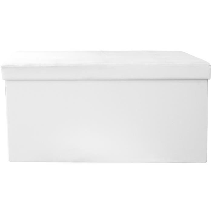 Coffre banc pliable en PU Blanc 76.5x37.5x37.5 cm