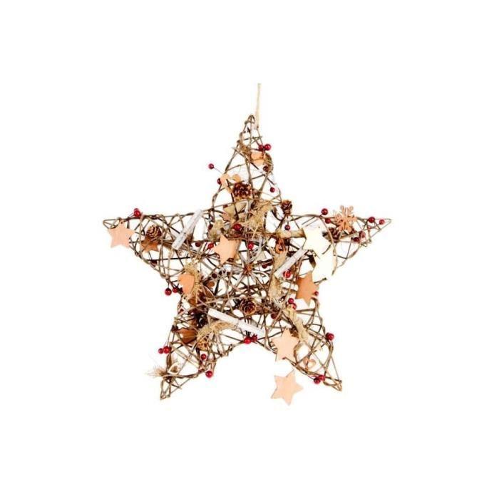 Étoile lumineuse en rotin 40 cm
