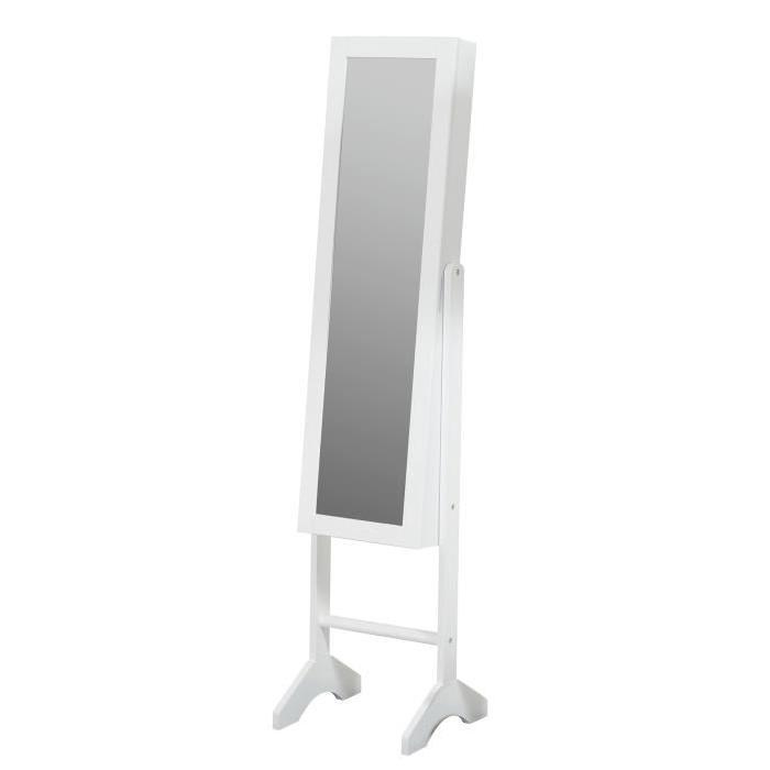 ARIA Armoire a bijoux avec miroir 35x153x35 cm blanc